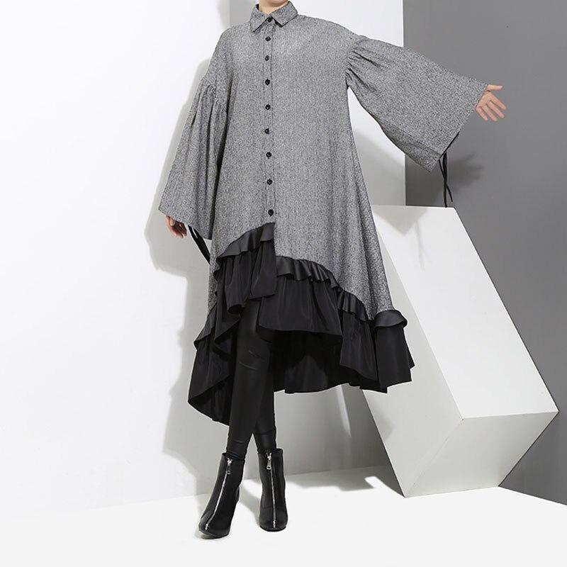 2019 haute qualité printemps automne nouveau Patchwork couleur col rabattu robes femmes chemise à volants longs plissée robes de grande taille