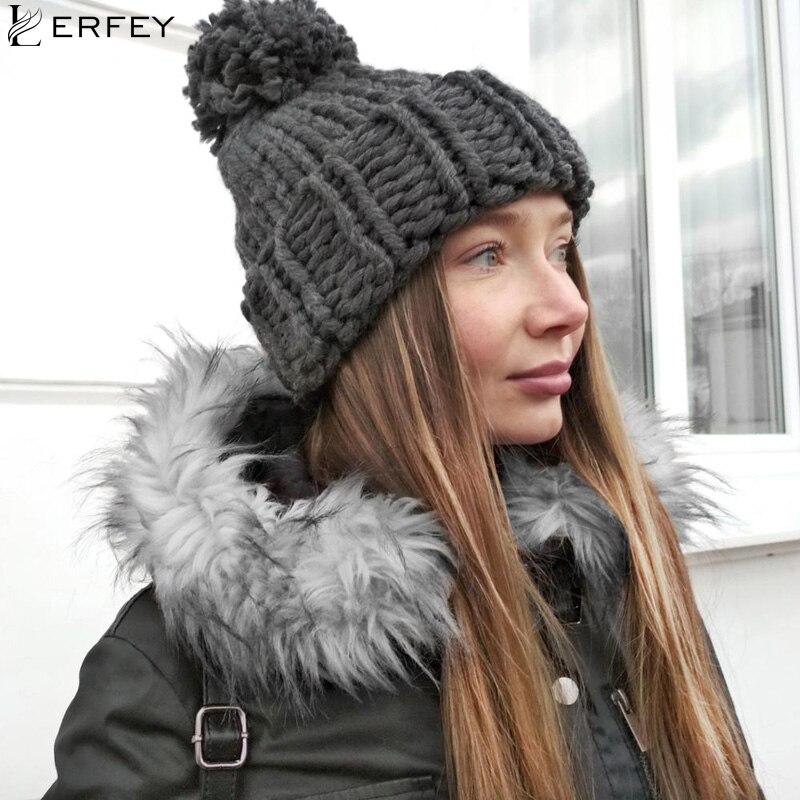 ₪LERFEY Chapeaux Tricotés À La Main Grossière Chapeau D hiver Pour ... 8ffc0c5e669