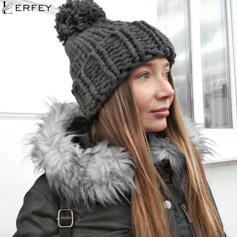 LERFEY Knitted Hats Handmade Coarse Winter Hat For Women Hat Fashion Warm Skullies Beanies Female Pom pom Cap New Gilrs Caps