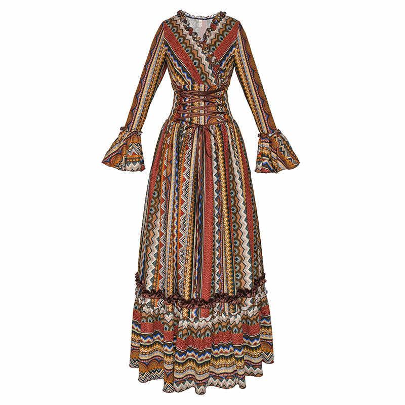 Бесплатная доставка 2019 Новая мода Boshow Осень и весна женское богемное гофрированное цельное длинное платье макси с v-образным вырезом с длинным рукавом S-L