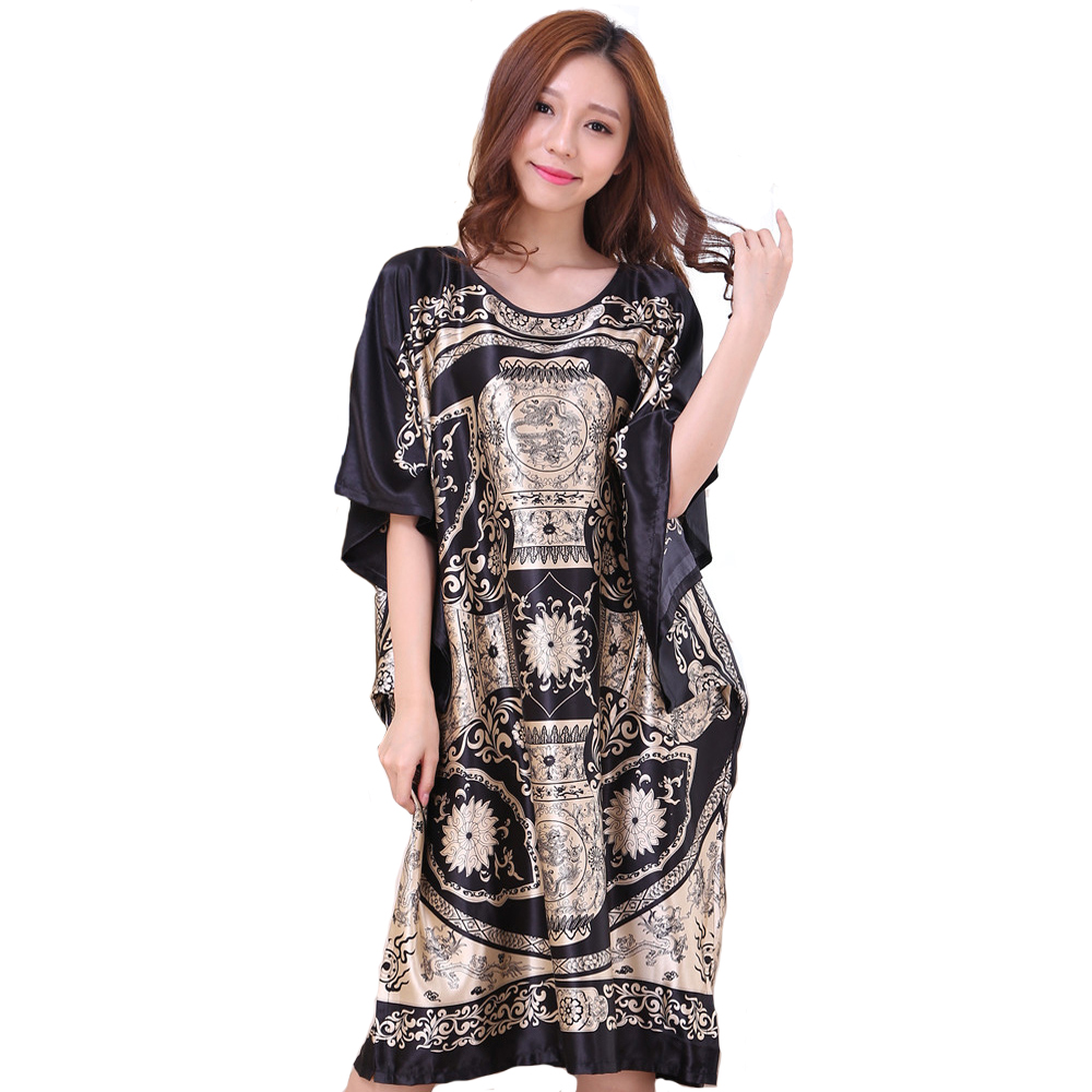 Hot Sale Black Female Satin Rayon Robe Nightgown Summer Loose Lounge Kaftan Bath Gown Printed Flower Home Dress One Size