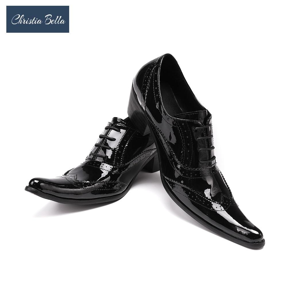 كريستيا بيلا اللباس أحذية عالية الكعب روك الشرير موضة جلد طبيعي نمط الأعمال ملهى ليلي أحذية الاجتماعية sapatos زائد الحجم
