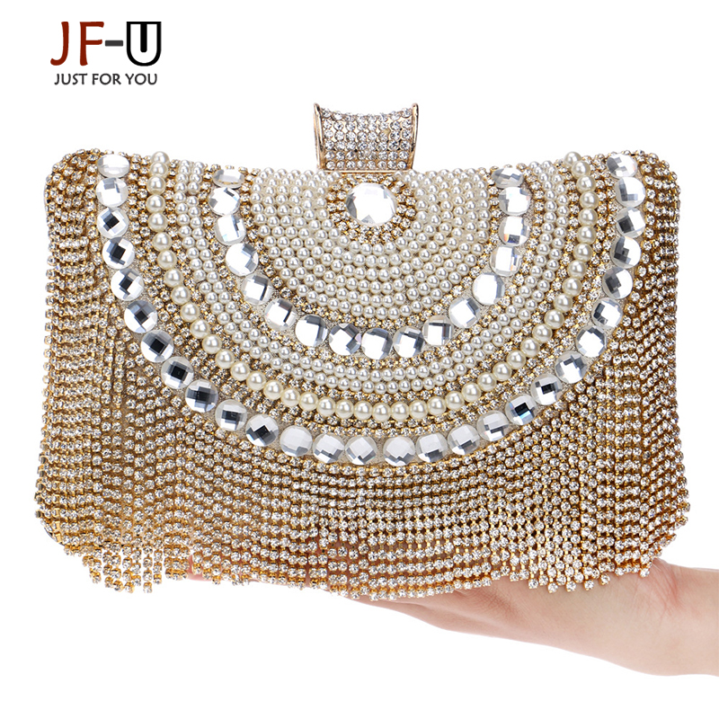 2016 New Beaded Women Evening Bags Diamonds Finger Rings Small Purse Day Clutches Handbags Silver/Gold/Black Pearl Wedding Bags sekusa women evening bags rhinestones metal crown handbags full of diamonds day clutches purse evening bags silver gold black