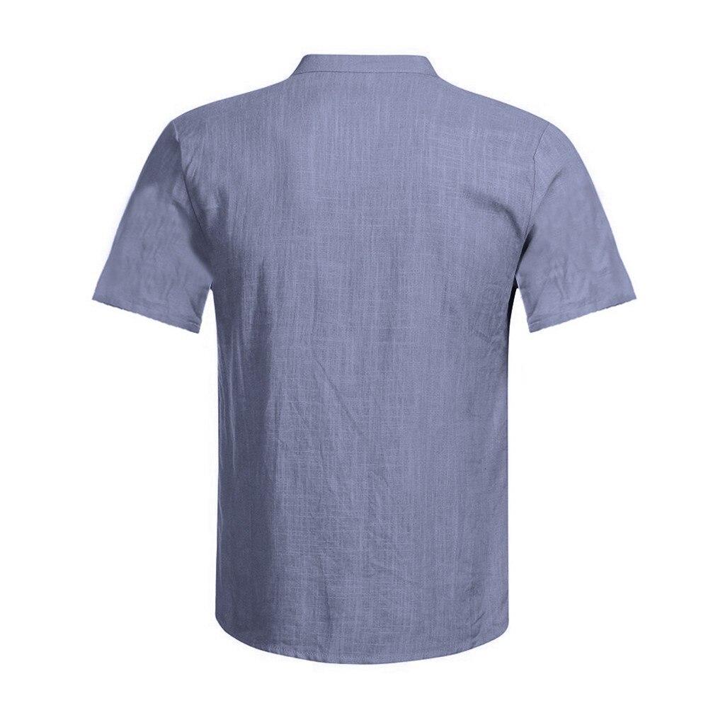 Men's Casual Blouse Cotton Linen shirt Loose Tops Short Sleeve Tee Shirt S-2XL Spring Autumn Summer Casual Handsome Men Shirt 14