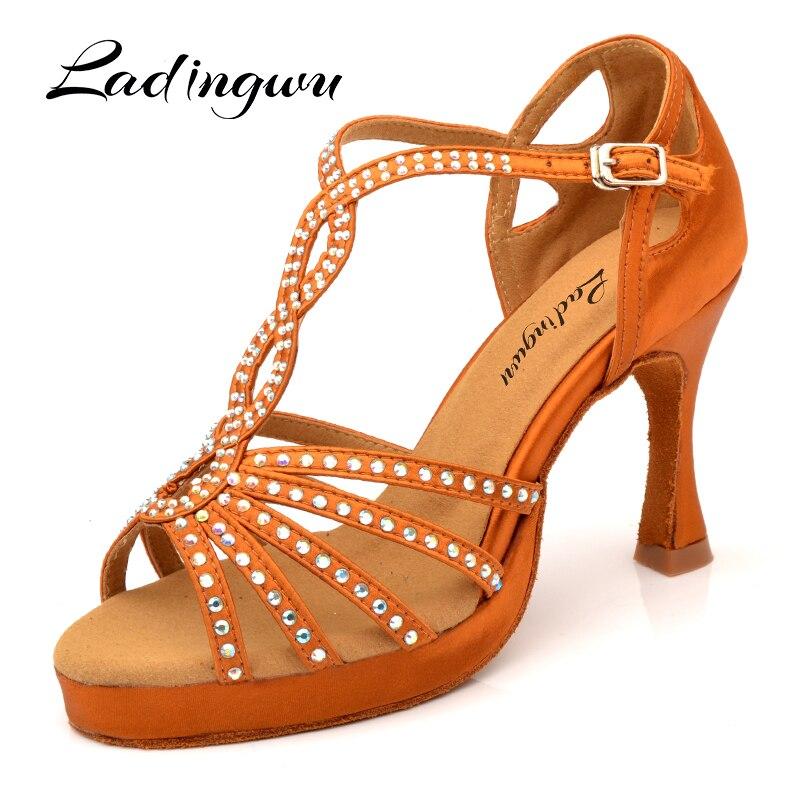 Ladingwu Hot Dance Shoes Latin Women Bronze Black Silk Satin Sanba Salsa Dance Shoes Platform Ballroom