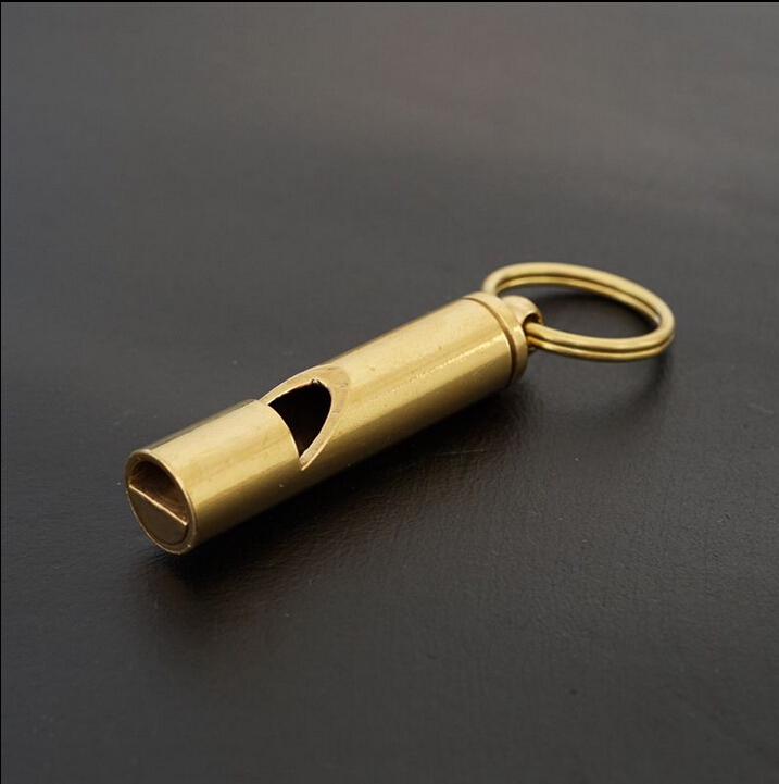 Pure Brass  high frequency Survival whistle dog training whistle Keychain pet dog whistle training obedience ultra sonic sound silver black