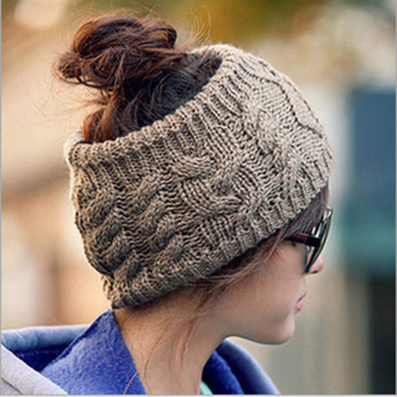 Women Winter Cute Solid Wool Acrylic Knitted Warm Hats Female Autumn Warmer Ponytail Head Band Pleated Breathable Knit Cap K7