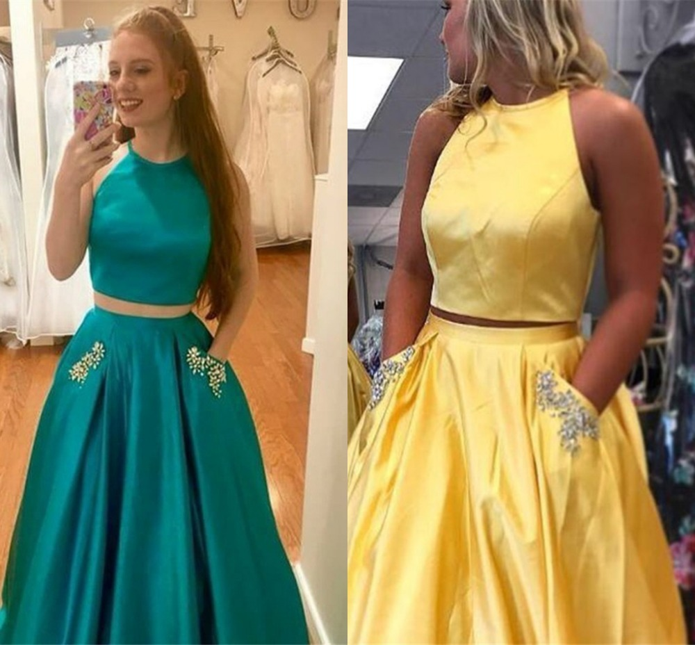 Two Pieces Beading Crystals   Prom     Dresses   2019 Halter Backless A-line Pageant Evening Party Gowns Plus Size Vestido de Festa Fre