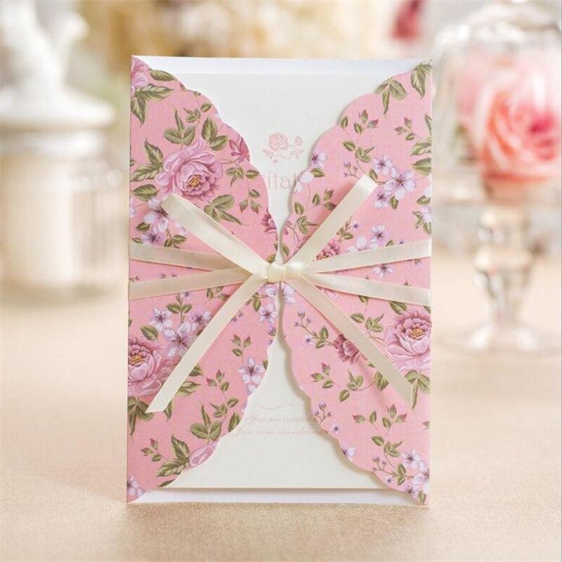Us 6466 14 Offkorea Gaya Pink Surat Undangan Pernikahan Undangan Kartu Undangan Pernikahan Laser Untuk Event Party Supplies In Kartu Undangan