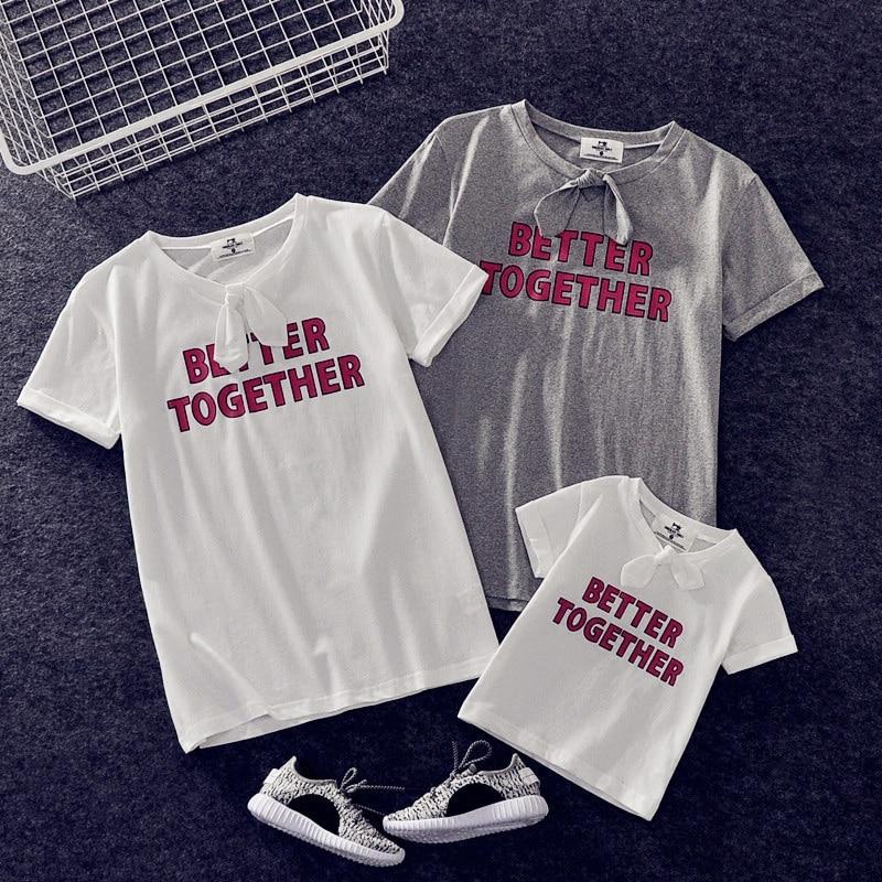 Родители и дети футболки лето для маленьких девочек мальчиков мать-дочь мама дети короткий рукав Лук декольте Футболка семейная одежда