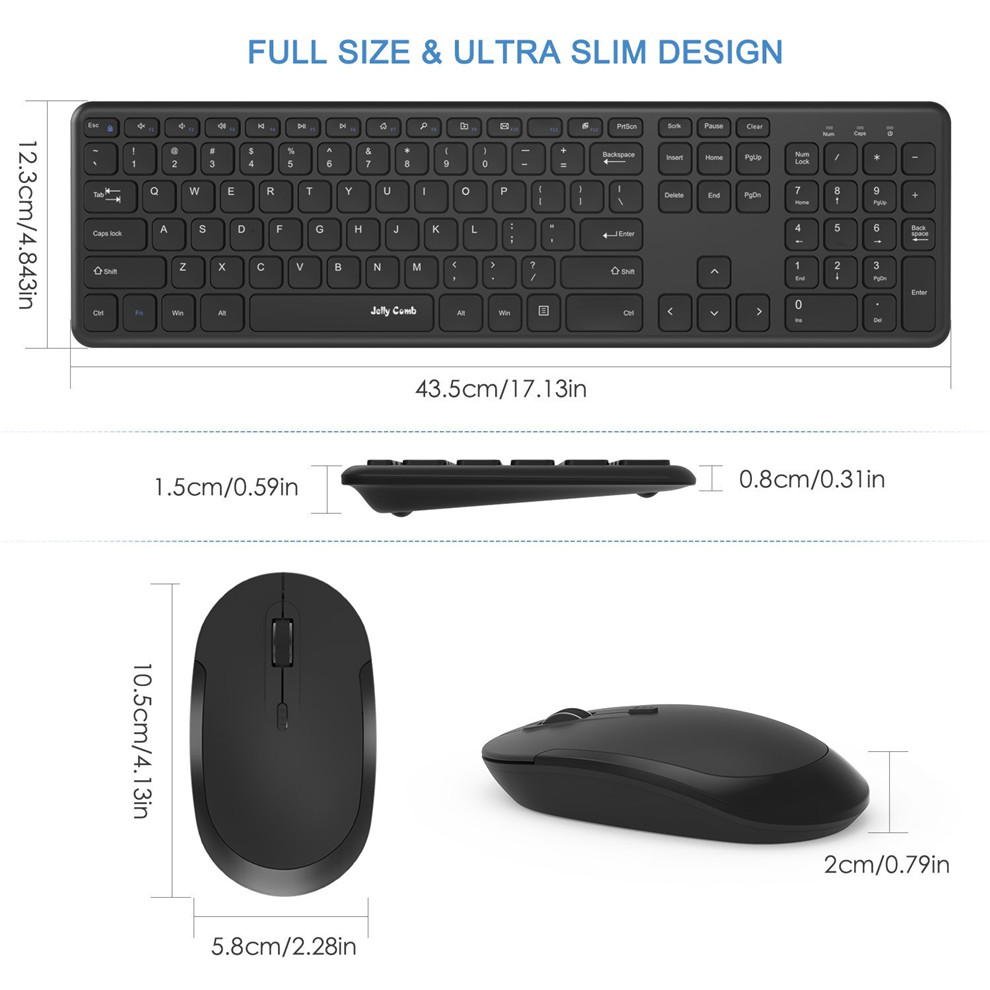 fbd3cb2594b Jelly Comb 2.4GHz Full Size Wireless Keyboard and Mouse Combo Set with Number  Pad for Computer Laptop PC Desktop Notebook Window