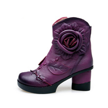 National Style Black Blue Purple Cowhide Round Toe Thick High Heels Ankle Boots With 3D Flowers Fashion Comfortable Booties Shoe