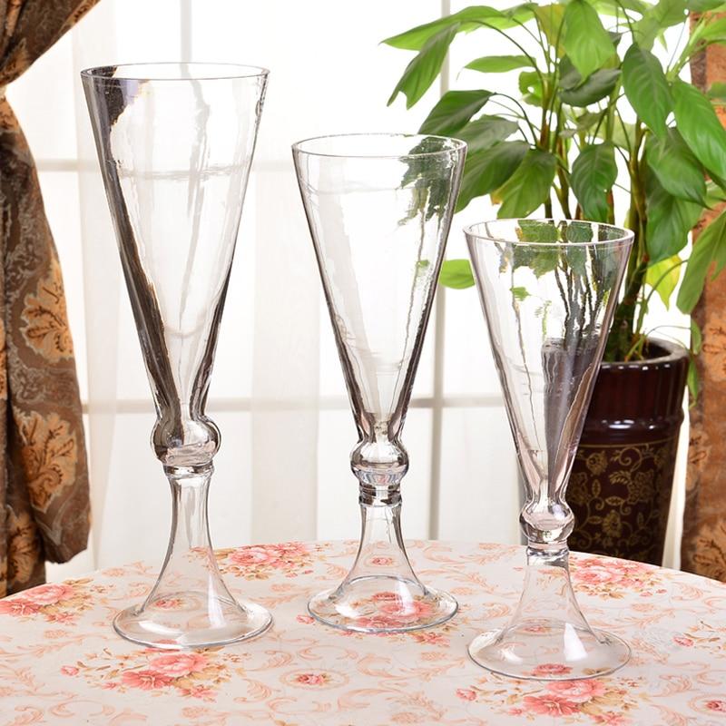 European Trumpet shape Flower Vase Wedding transparent Tabletop terrarium glass containers Creative vase for wedding decoration in Vases from Home Garden