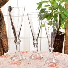 European Trumpet shape Flower Vase Wedding transparent Tabletop terrarium glass containers Creative vase for wedding decoration