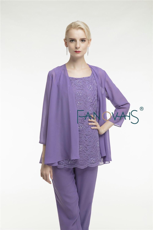 Purple krajka Matka nevěsty šaty kalhoty oblek tři kusy šifon - Šaty pro svatební hostiny - Fotografie 5