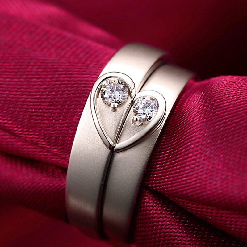Genuine 18K Pure White Gold His and hers Lovers Couple Diamond
