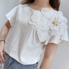 2019 Summer White Solid 3D Flower T-Shirts Women Elegant Slim Short Sleeve Party T-shirts