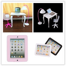 Miniature 1:12 Scale Laptop Computer Toy Doll Furniture Chair Study Desk/Computer PC Table With Lamp Children Toy(China)