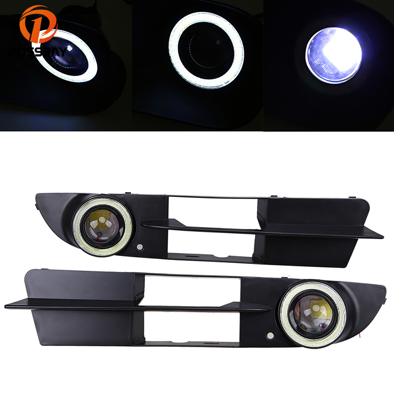 POSSBAY Halo Angel Eyes Ring Front Bumper Fog Light Grill LED Fog Lamp for BMW 5-Series E60 Sedan 2003/2004-2007 Pre-facelift free shipping cree white no obc 9006 led fog light bulb for bmw e60 bmw 5 series 2003 2007