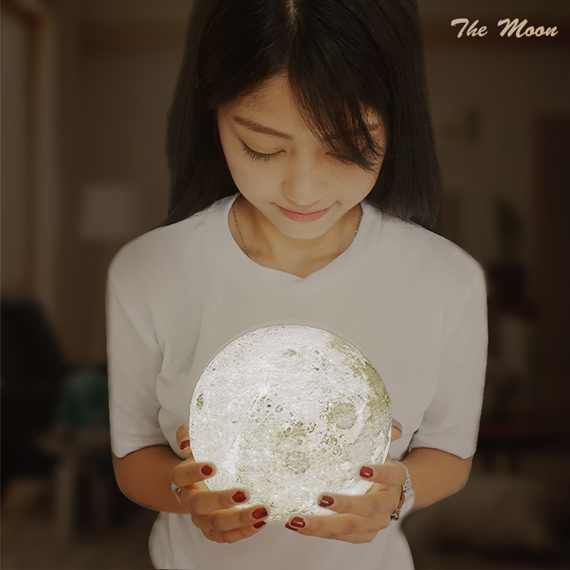 Micromake 3D Print Moon Lamp with Touch-Sensing Switch Night Lamp with 9cm Diameter 4 Types Available