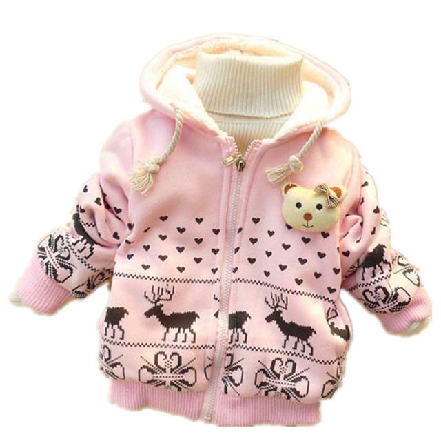 Bebé Chaqueta de Invierno para Niñas 2016 Moda de Dibujos Animados Cervatillo Niños Calientes Outwear Abrigo Con Capucha Para Niños Ropa de Bebé Niña Infantil Casaco