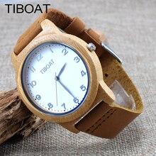 TIBOAT Fashion Simple Men's Bamboo Wood Watch Women Casual Watch Genuine Leather Wristwatch reloj For Gifts GZ1M