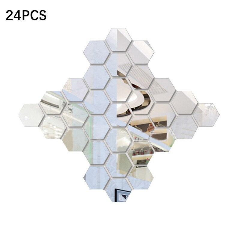 24Pcs 3D Hexagon Acrylic Mirror Wall Stickers DIY Art Wall Decor Stickers Home Decor Living Room Mirrored Decorative Sticker
