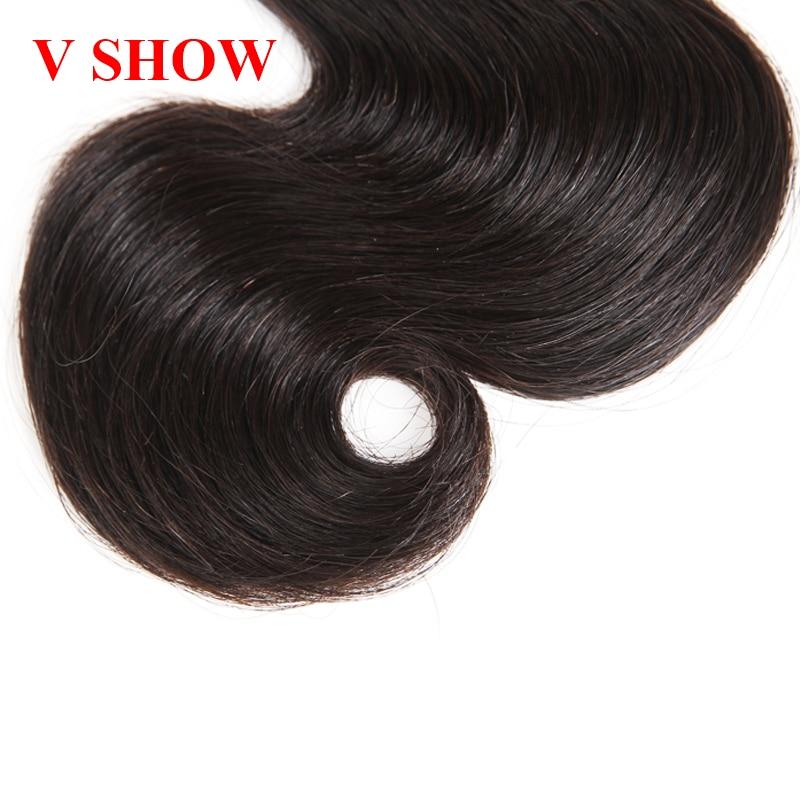 3 Bundles Peruvian Body Wave VSHOW Mänskliga Hårpaket Natural Black - Mänskligt hår (svart) - Foto 4