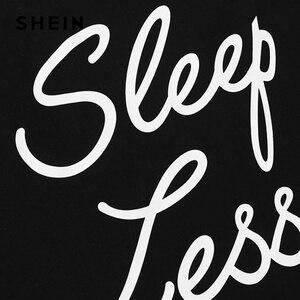 Image 4 - SHEIN Thư In Đầu Dây Rút Eo Shorts Pajama Set Phụ Nữ Không Tay Dây Rút Preppy Quần Áo Ngủ 2018 Ngủ Giản Dị