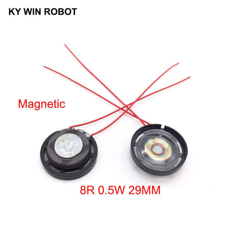2pcs/lot New Ultra-thin Toy-car Horn 8 Ohms 0.25 Watt 0.25W 8R Speaker Magnetic Diameter 29MM 2.9CM With Wire