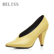 BELISS fashion pumps women shoes heel high ladies pointed toe elegant genuine leather comfortable X4