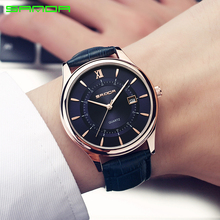 цены SANDA Leather Bussiness Men's Watches Top Brand Luxury Fashion Quartz Watches Men Complete Calendar Wrist Watch erkek kol saati