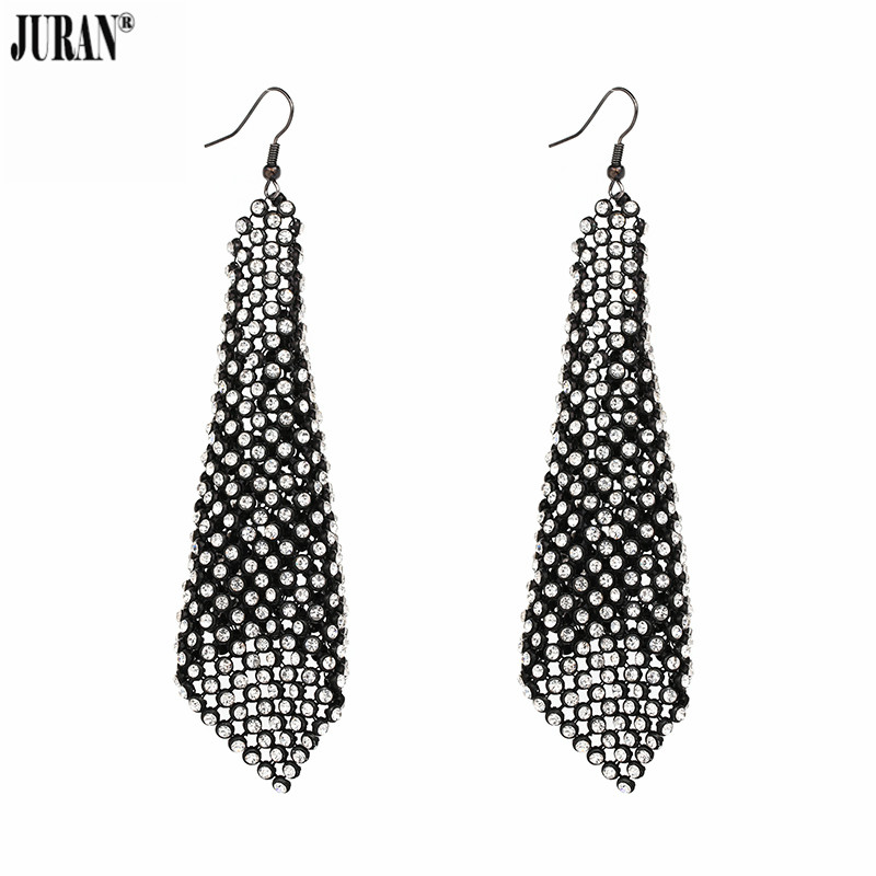 JURAN 2017 Luxury Trendy Holographic Chainmail Dangle Earrings Statement Long Shiny Crystal Drop Earrings for women Jewelry