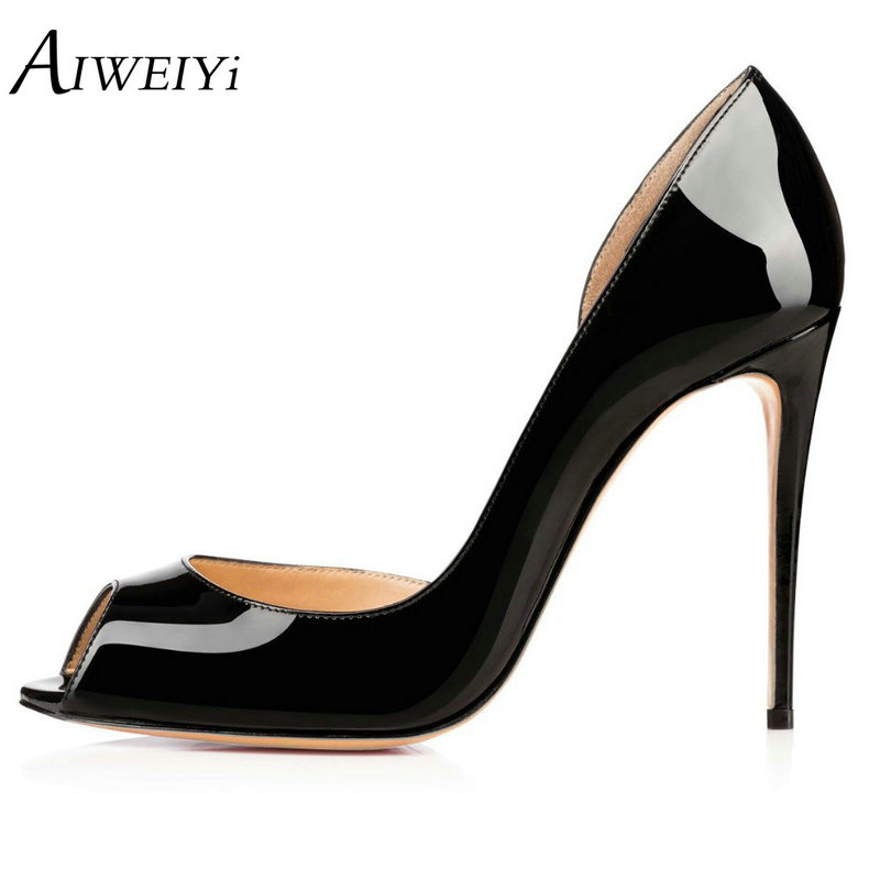 AIWEIYi Women High Heels Peep Toe Thin Heels Slip On Platform Pumps Sexy Party High Heel Pumps Black Red Ladies Wedding Shoes 2018 women yellow high heel pumps pointed toe metal heels wedding heel dress shoes high quality slip on blade heel shoes