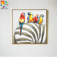 Hand Painted Modern Ideas Designed Animals Canvas Wall Art Color Parrot On Zebra Oil Paintings Bedroom