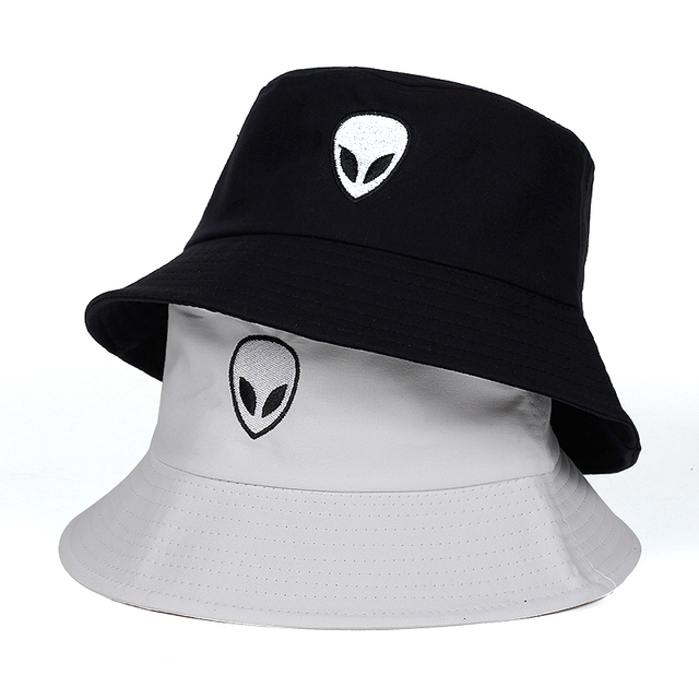 c8b07dd6 VORON black white solid Alien Bucket Hat Unisex Bob Caps Hip Hop Gorros Men  women Summer