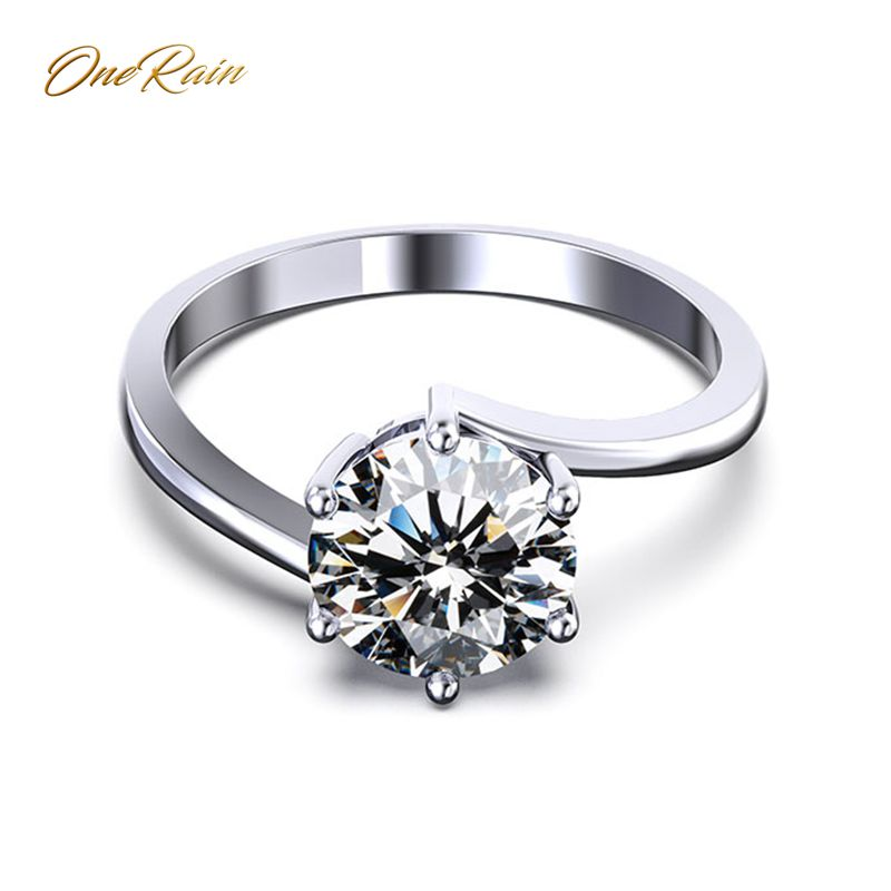 OneRain Classic 100% 925 Sterling Silver Created Moissanite Gemstone Wedding Engagement Ring Anniversary Fine Jewelry Wholesale