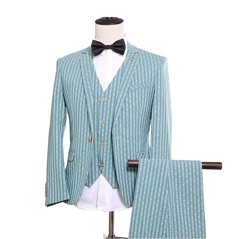 df48a5226 OSCN7 raya azul a medida trajes hombres 3 pieza Caballero boda de traje de  hombre Blazer ...
