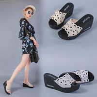 Luxury Slides Shoes Woman 2019 Slippers Platform On A Wedge Women Heels Designer Soft Summer New High Wedges Fashion