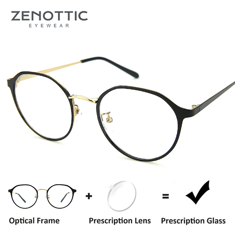 8b2e7c05ae ZENOTTIC Vintage Round Frame Prescription Glasses Women Retro Optical  Myopia Eyeglasses Anti Blue Ray Hyperopia Photochromic-in Prescription  Glasses from ...