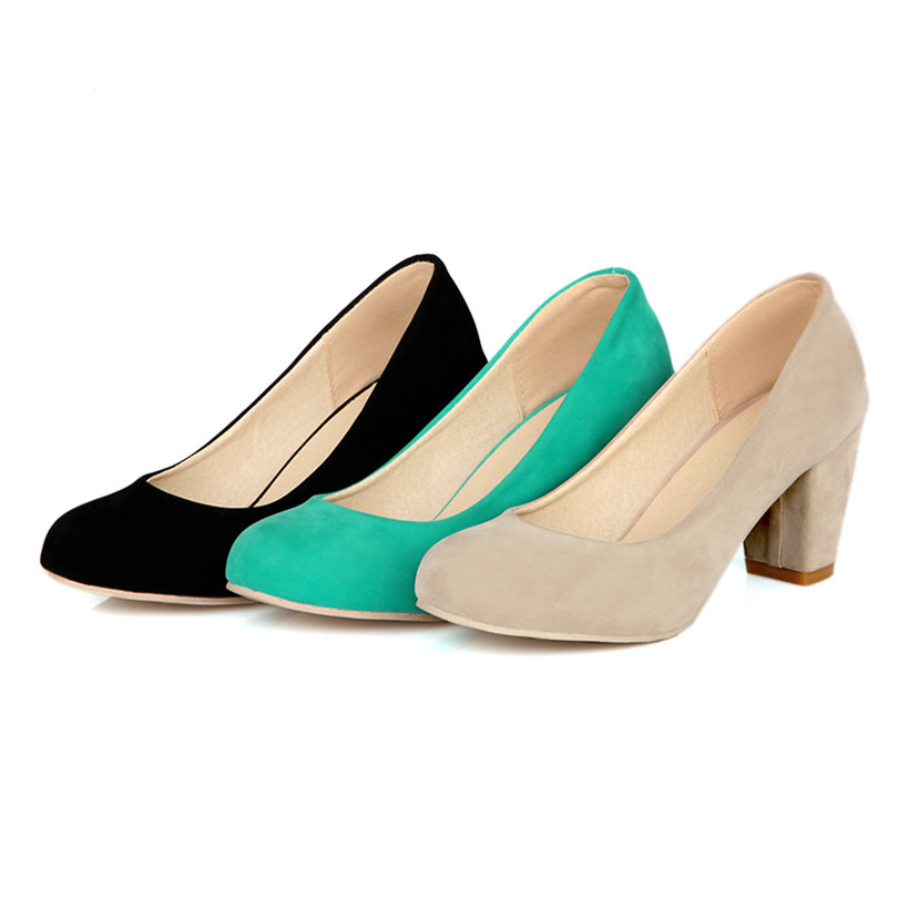 Plus Large Size Spring Women Pumps Thick Block High Heels Flock Velvet Round Toe Concise Autumn Dress Party Green Ladies Shoes meotina high heels shoes women pumps party shoes fashion thick high heels pointed toe flock ladies shoes gray plus size 10 40 43