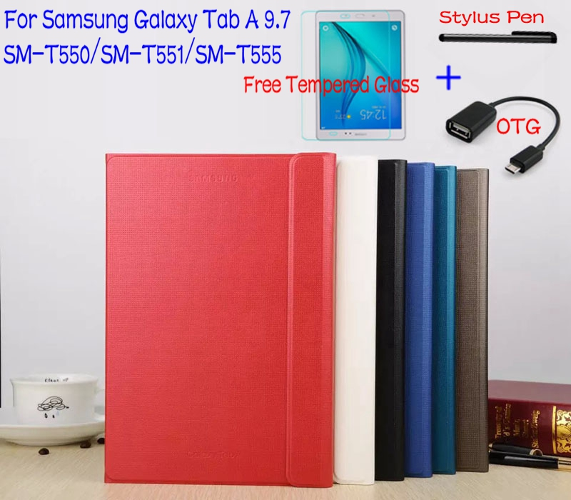 Подробнее о Top Quality Stand Smart PU Leather Case Cover for Samsung Galaxy Tab A 9.7 T550 T551 T555 Tablet +Free Screen Protector+OTG+Pen top quality smart pu leather cover for samsung galaxy tab s2 9 7 t810 t813 t815 t819 tablet case free screen protector otg pen