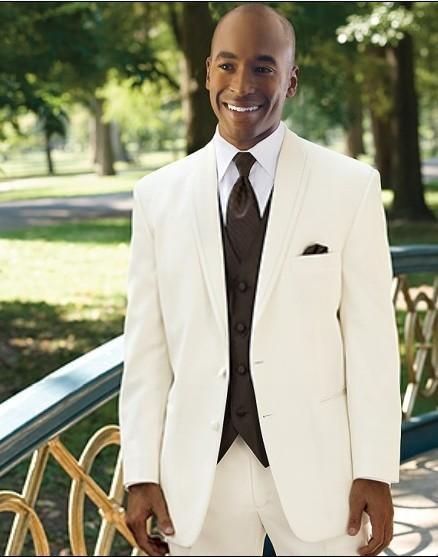 Ivory High Quality Groom Tuxedos Groomsmen Men Wedding Tuxedos ...