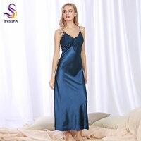 섹시한 실크 잠옷 새로운 여름 여성 네이비 블루 실크 긴 드레스 잠옷 V 칼라 여성 나비 라운