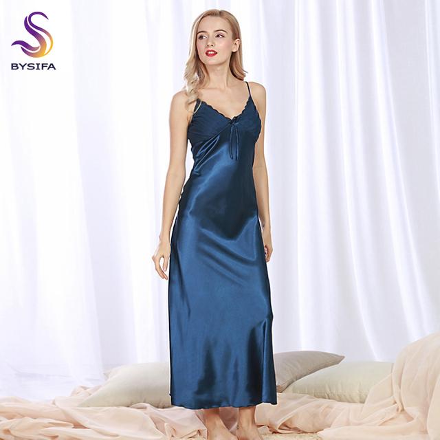 Sexy Camisola de Seda Novo Verão Mulheres Azul Marinho De Seda Sleepwear Vestido Longo V Colarinho Senhoras Arco Salão Sleepshirts Cáqui, rosa, Preto
