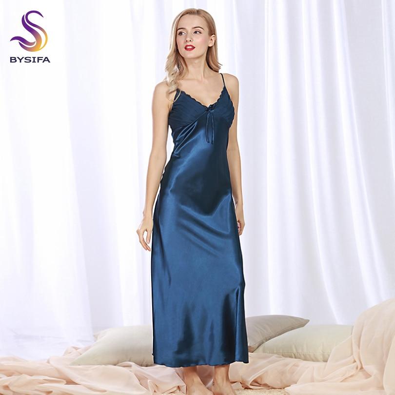 Sexy Silk Nightgown New Summer Women Navy Blue Silk Long Dress Sleepwear V Collar Ladies Bow Lounge Sleepshirts Khaki,Pink,Black