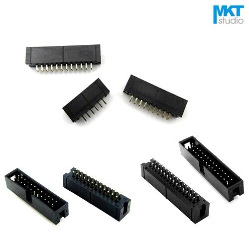 10Pcs Straight Pin 2.54mm Pitch DC3 Male IDC Connector Socket ISP JTAG Header Sample 6P 8P 10P 12P 14P 16P 18P 20P