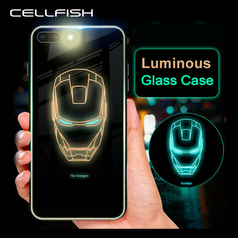 Marvel Avengers Ironman Temper Glass Case for Coque iPhone 8Plus 8 7 6s Plus XS MAX XR 10 Iron man Batman Logo Luminous Cover