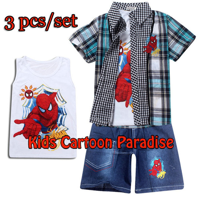 Free shipping!2014 summer set cotton kids clothing sets blouse+shirts+pant Spiderman baby Boys and girls children's sports suit