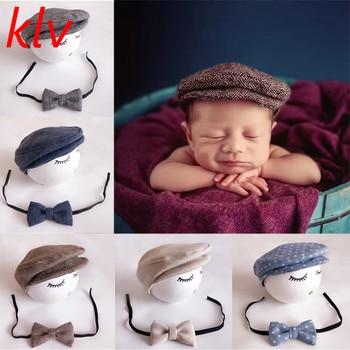 New 1Set Crochet Baby Toddler Hat And Tie Handmade Newborn Photography Props Baby Cap Beanie Infant  Bow Tie Set 1set newborn police design photography props infant toddler costume outfit crochet